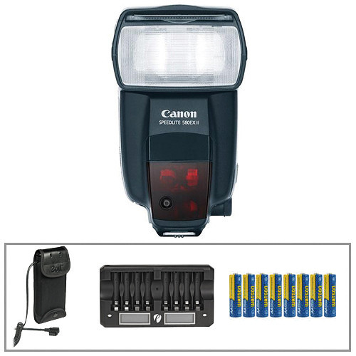 Canon Speedlite 580EX II Flash w/ Bolt Power Pack & Charger w/ 8 AA NiMH Rechargeable Batteries Kit