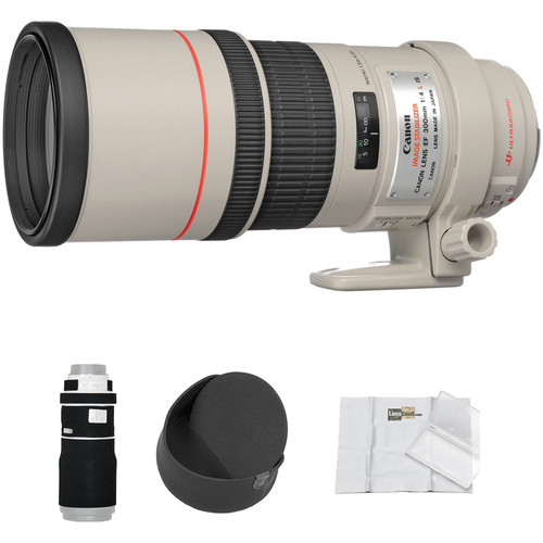Canon EF 300mm f/4L IS USM Lens with LensCoat Cover and Hoodie Kit