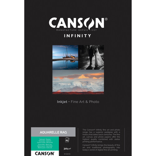 "Canson Infinity Aquarelle Rag Paper (310 gsm, 8.5 x 11"", 25 Sheets)"