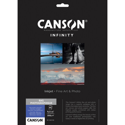 """Canson Infinity Rag Photographique Paper (210 gsm, 8.5 x 11"""", 10 Sheets)"""