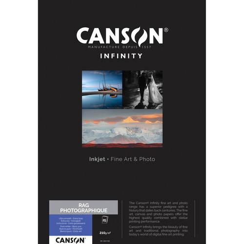 """Canson Infinity Rag Photographique Paper (210 gsm, 11 x 17"""", 25 Sheets)"""