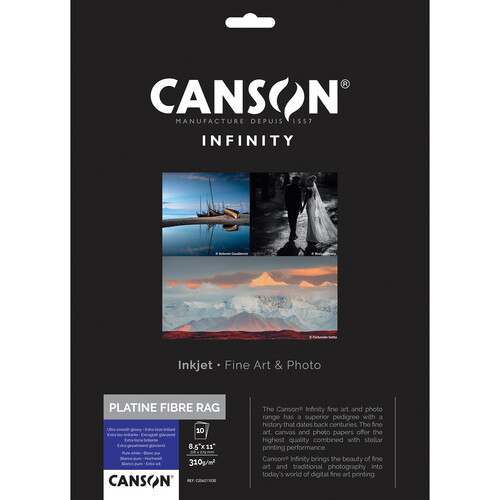 """Canson Infinity Platine Fibre Rag Paper (8.5 x 11"""", 10 Sheets)"""