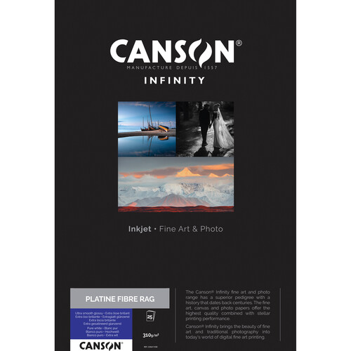 """Canson Infinity Platine Fibre Rag Paper (8.5 x 11"""", 25 Sheets)"""