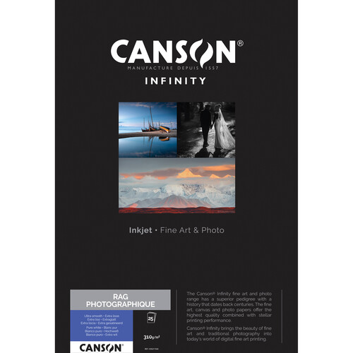 """Canson Infinity Rag Photographique Paper (310 gsm, 17 x 22"""", 25 Sheets)"""