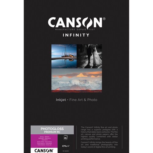 "Canson Infinity PhotoGloss Premium RC Paper (8.5 x 11"", 25 Sheets)"