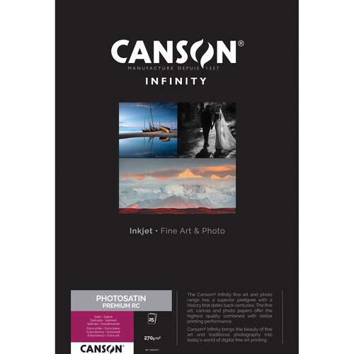 """Canson Infinity PhotoSatin Premium RC Paper (11 x 17"""", 25 Sheets)"""