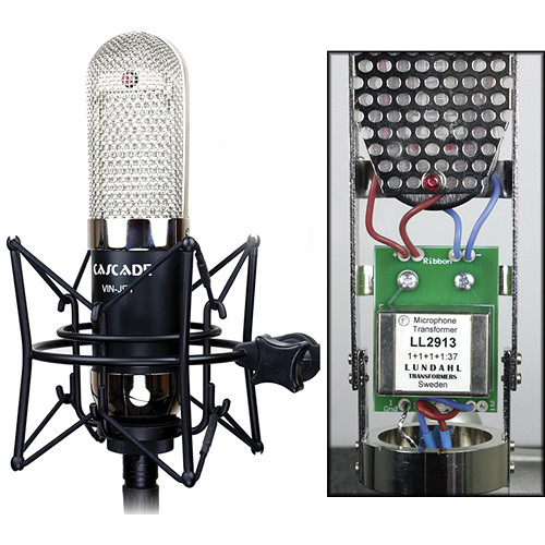 Cascade Microphones VIN-JET Long Ribbon Microphone (Black Body and Nickel Grill, Lundahl LL2913 Transformer)