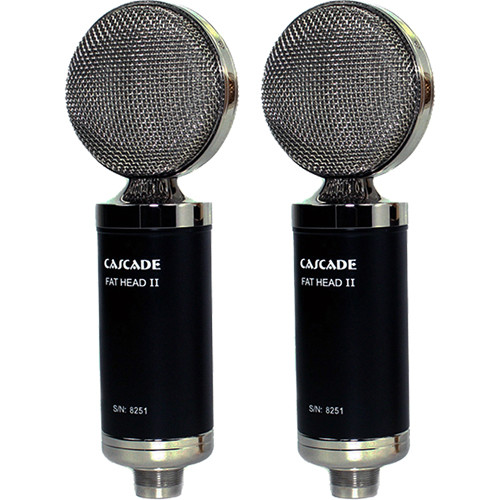 Cascade Microphones FAT HEAD II Ribbon Microphones (Pair, Black Body and Silver Grille, Lundahl LL2913 Transformer)