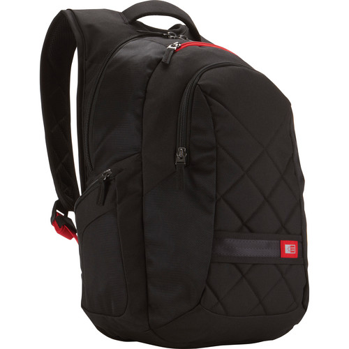 """Case Logic 16"""" Laptop Backpack (Black with Red Straps)"""