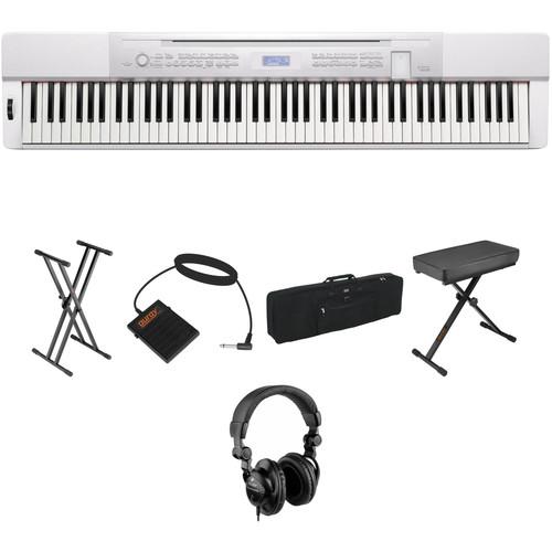 Casio PX-350 88-Key Piano Essentials Bundle (White)
