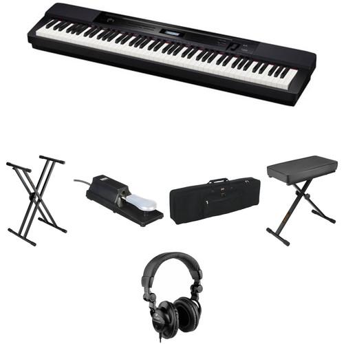 Casio PX-350 88-Key Piano Essentials Bundle (Black)