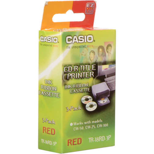 Casio Red 3-Pack of Thermal Ink Ribbon Tapes for Casio CW Series