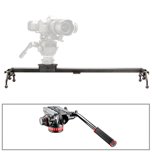 "Cinevate Inc 35"" Atlas 10 LTS DSLR Slider & Manfrotto 502HD Head/Base 3/8""-16 Kit"