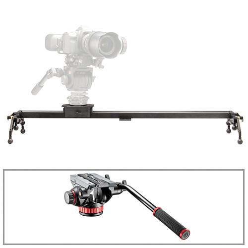 "Cinevate Inc 35"" Atlas 10 LTS DSLR Slider & Manfrotto 502HD Head/Base 3/8""-16 Kit"