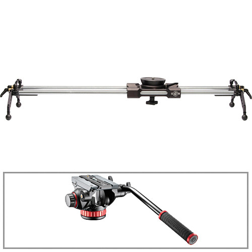 "Cinevate Inc 35"" Atlas 30 Slider With Legs & Manfrotto 502HD Head/Base 3/8""-16 Kit"