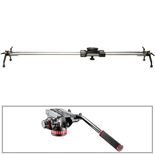 """Cinevate Inc 58"""" Atlas 30 Slider With Legs & Manfrotto 502HD Head/Base 3/8""""-16 Kit"""