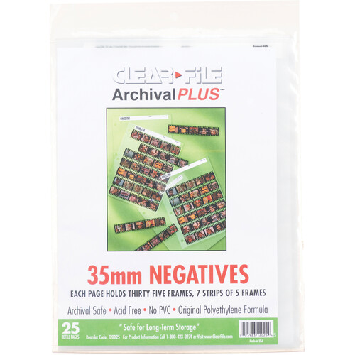 ClearFile Archival-Classic Storage Page for Negatives, 35mm, 7-Strips of 5-Frames - 25 Pack
