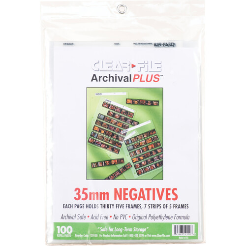 ClearFile Archival-Classic Storage Page for Negatives, 35mm - 100 Pack