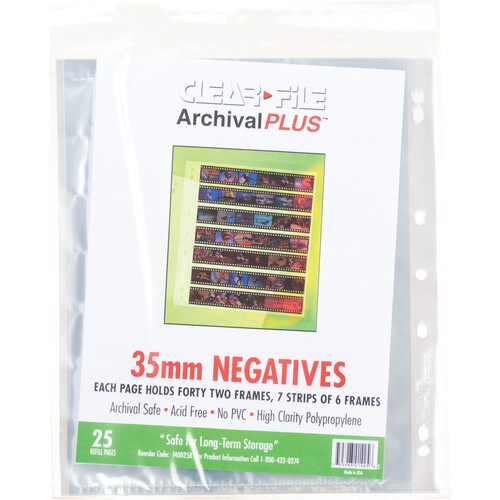 ClearFile Archival Plus Negative Page, 35mm, 7-Strips of 6-Frames - 25 Pack