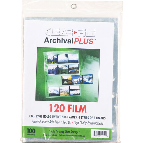 ClearFile Archival Plus Negative Page, 6x6cm (120), 4-Strips of 3-Frames (Horizontal) - 100 Pack