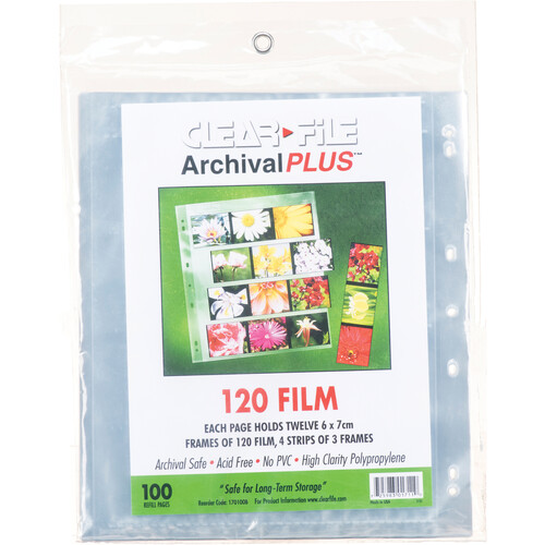 ClearFile Archival-Plus Storage Page for Negatives, 6x7cm (120), 4-Strips of 3-Frames (Horizontal) - 100 Pack