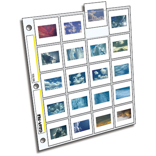 """ClearFile Archival-Plus Slide Page, 35mm (2x2""""), Holds 20 Slides, Top-Load, Clear Back - 25 Pack"""