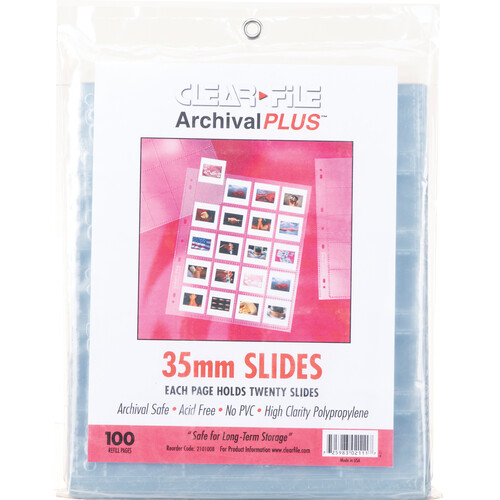 """ClearFile Archival-Plus Slide Page, 35mm (2x2""""), Holds 20 Slides, Top-Load, Clear Back - 100 Pack"""