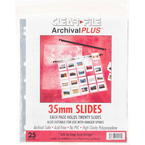 "ClearFile Archival-Plus Storage Page for Slides, 35mm (2x2""), Holds 20 Slides, Side-Load, Clear Back - 25 Pack"