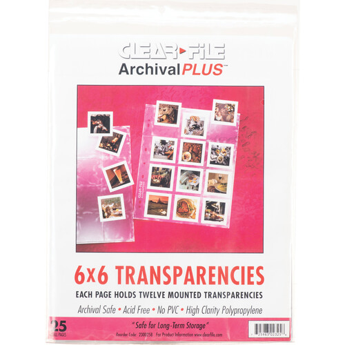 ClearFile Archival-Plus Storage Page for Slides, 6x6cm, 6x7cm (120), Holds 12 Slides, Top-Load, Clear Back - 25 Pack