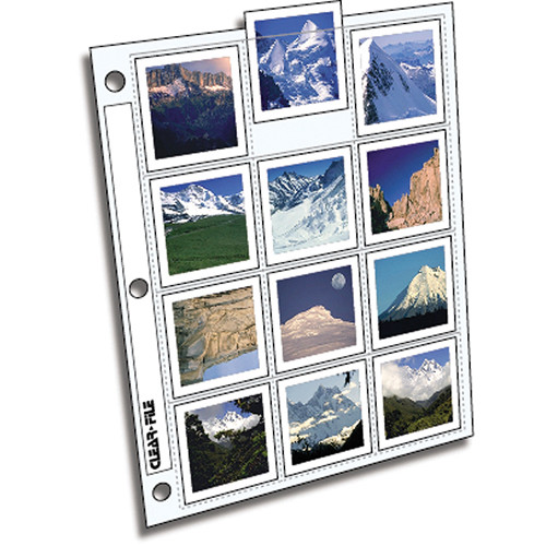 ClearFile Archival-Plus Slide Page, 6x6 (120), Holds 12 Slides, Top-Load, Clear Back - 100 Pack