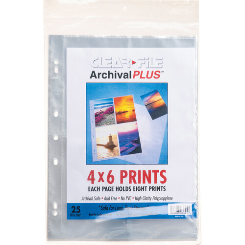 "ClearFile Archival-Plus Print Page, Holds Eight 4 x 6"" Prints (25 Pack)"