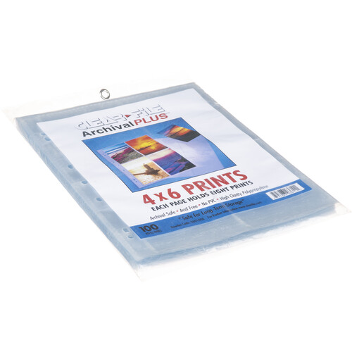 """ClearFile Archival-Plus Print Page, Holds Eight 4 x 6"""" Prints - 100 Pack"""