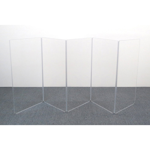ClearSonic AR4-5 - 4' High, 10' Wide (Five Section) Hinged Clear Acrylic Panel System - Scratch Resistant