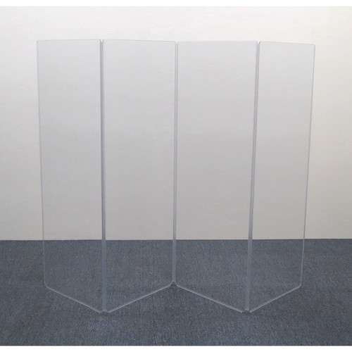ClearSonic AR5-4 - 5.5' High, 8' Wide (Four Section) Hinged Clear Acrylic Panel System - Scratch Resistant