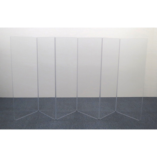 ClearSonic AR5-6 - 5.5' High, 12' Wide (Six Section) Hinged Clear Acrylic Panel System - Scratch Resistant
