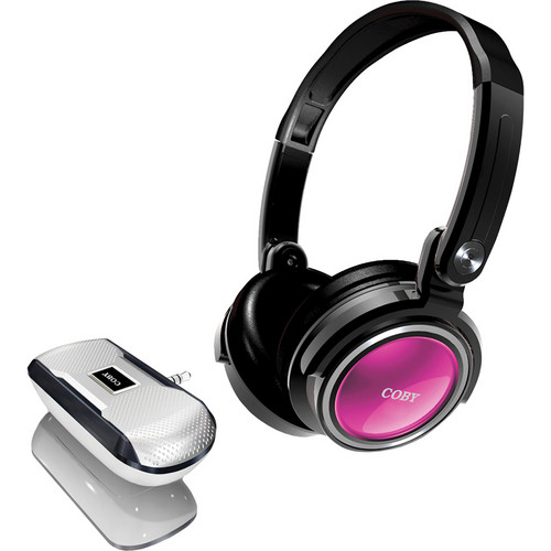 Coby CV18523 Deep Bass Stereo Headphones and Mini MP3 Speaker (Pink)