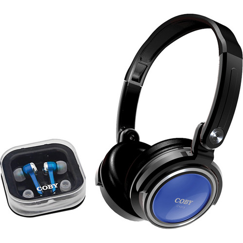 Coby CV215 Jammerz On-Ear and In-Ear Headphone Set (Blue)