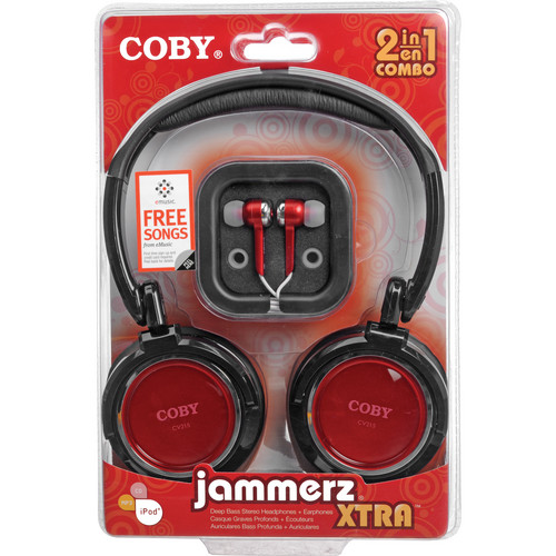 Coby CV215 Jammerz On-Ear and In-Ear Headphone Set (Red)