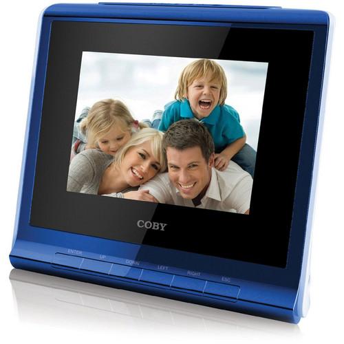 "Coby DP356 3.5"" Digital Photo Album with Alarm Clock (Blue)"