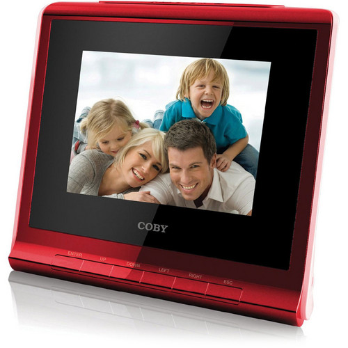 "Coby DP356 3.5"" Digital Photo Album with Alarm Clock (Red)"