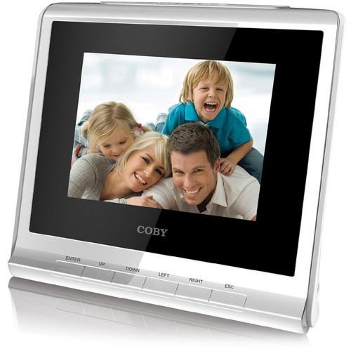 "Coby DP356 3.5"" Digital Photo Album with Alarm Clock (White)"