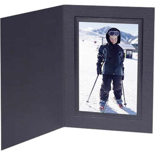 "Collector's Gallery Conventional Black Portrait Folder w/ Black Foil Border for 5 x 7"" Print , Model PF5200-57"