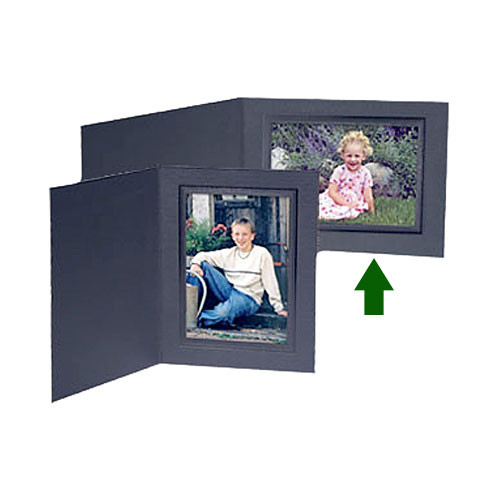 "Collector's Gallery Conventional Black Portrait Folder w/ Black Foil Border for  4x 6"" Print, Model PF5200-64"
