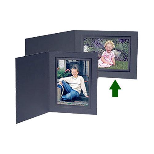 "Collector's Gallery Conventional Black Portrait Folder w/ Black Foil Border for 5 x 7"" Print, Model PF5200-75"