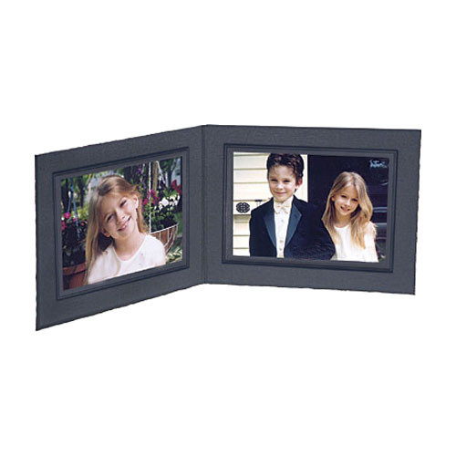 """Collector's Gallery Black Double View Portrait Folder - Conventional Style  Standard Folder with Black Foil Window Border , Model PF5202-54 - for 4 x 5"""" Print (Landscape Format)"""