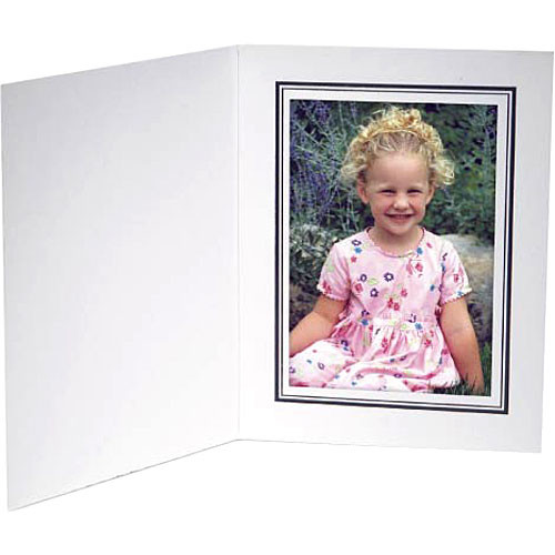 "Collector's Gallery White Conventional  Portrait Folder with Black Border  for 4 x 5"" Print , Model PF5210-45 (Portrait Format)"