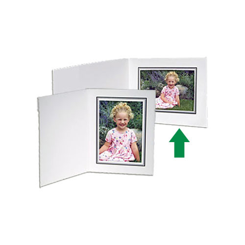 "Collector's Gallery White Conventional  Portrait Folder with Black Border  for 4 x 5"" Print , Model PF5210-54 (Landscape Format)"