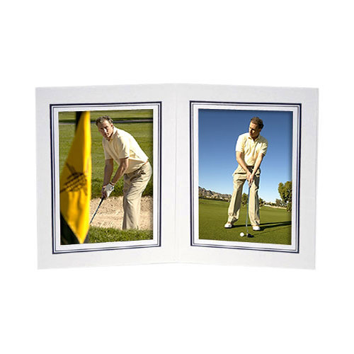 "Collector's Gallery White Double View Portrait Folder with Black Foil Border  for 4 x 5"" Print, Model PF5212-45 (Portrait Format)"