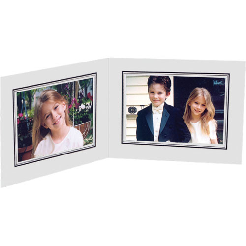 """Collector's Gallery White Double View Portrait Folder with Black Foil Border  for 5 x 7"""" Print, Model PF5212-75  (Landscape Format)"""