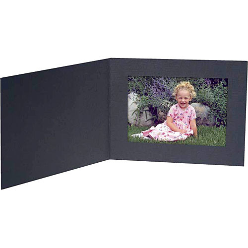 "Collector's Gallery Contemporary Black Portrait Folder without Foil Border for 4 x 6"" Print , Model PF5400-64 (Landscape Format)  - 25 Folders"